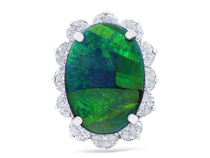Oscar Heyman opal and diamond ring