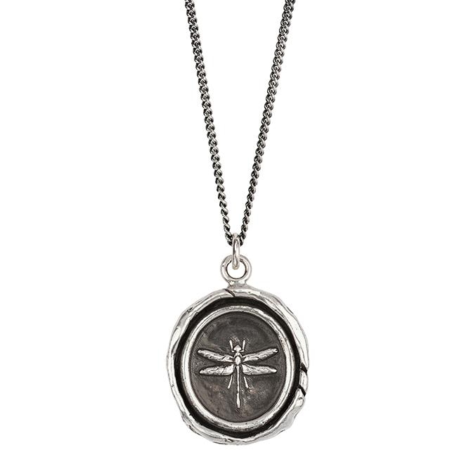 Pyrrha dragonfly talisman pendant
