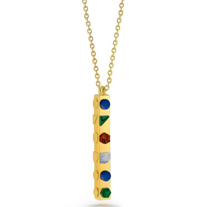 W Britt multi stone pendant