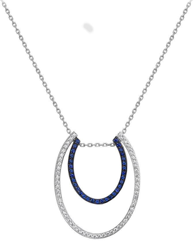 Ralph Masri modernist diamond sapphire necklace