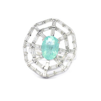 Ri Noor Paraiba and baguette diamond ring