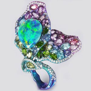 Lee Jewellery black opal butterfly ring