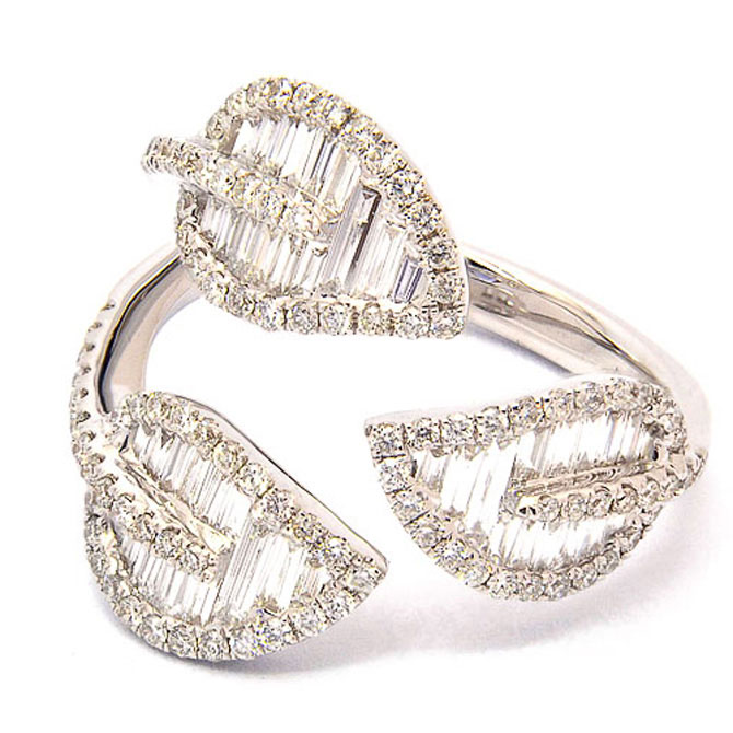 El Dorado baguette diamond leaves ring