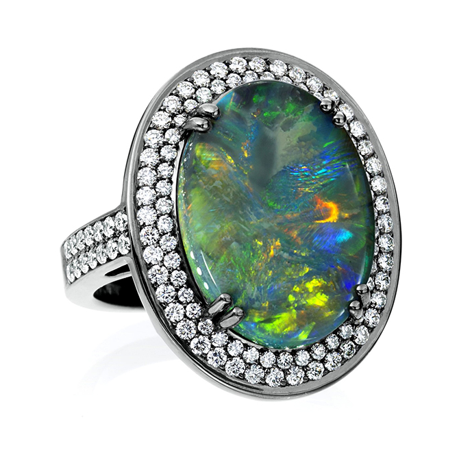 Lauren K opal blackened ring