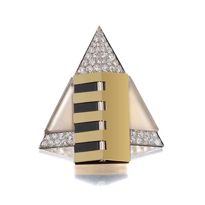 Sandoz geometric brooch from Siegelson