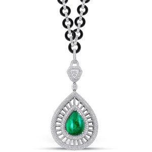 Siera emerald onyx diamond necklace