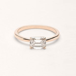 Vrai and Oro emerald cut engagement ring rose gold