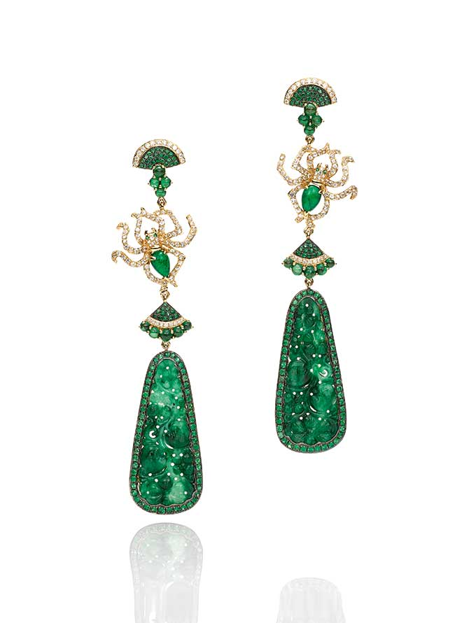 Wendy Yue carved jade earrings
