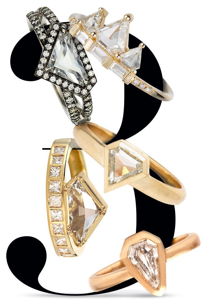 shield diamond rings