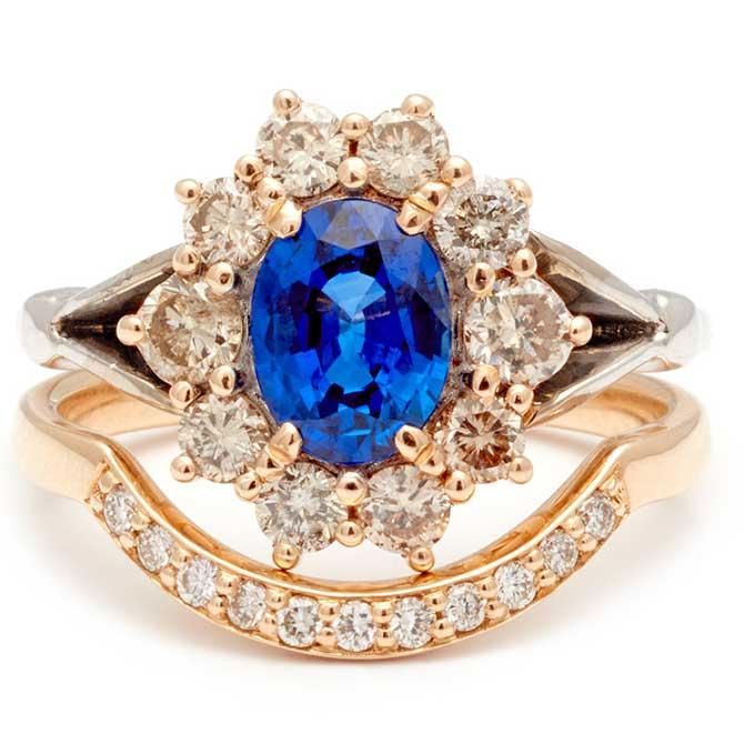 Anna Sheffield sapphire bridal set