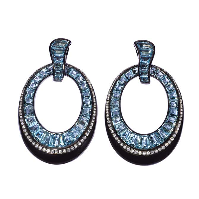 Daniella Kronfle blue topaz and diamond earrings
