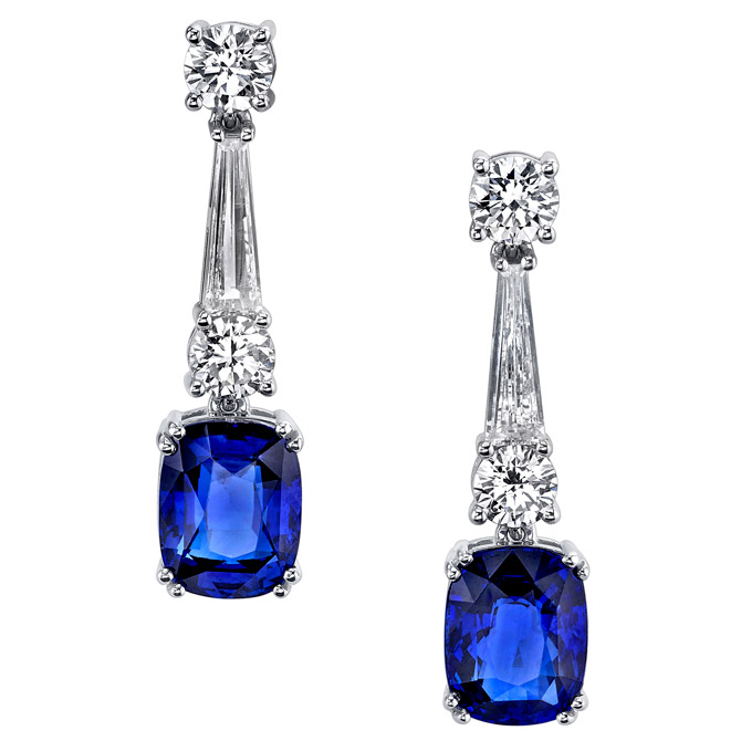 Joshua J sapphire and diamond earrings