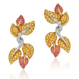 Andreoli diamond leaves earrings
