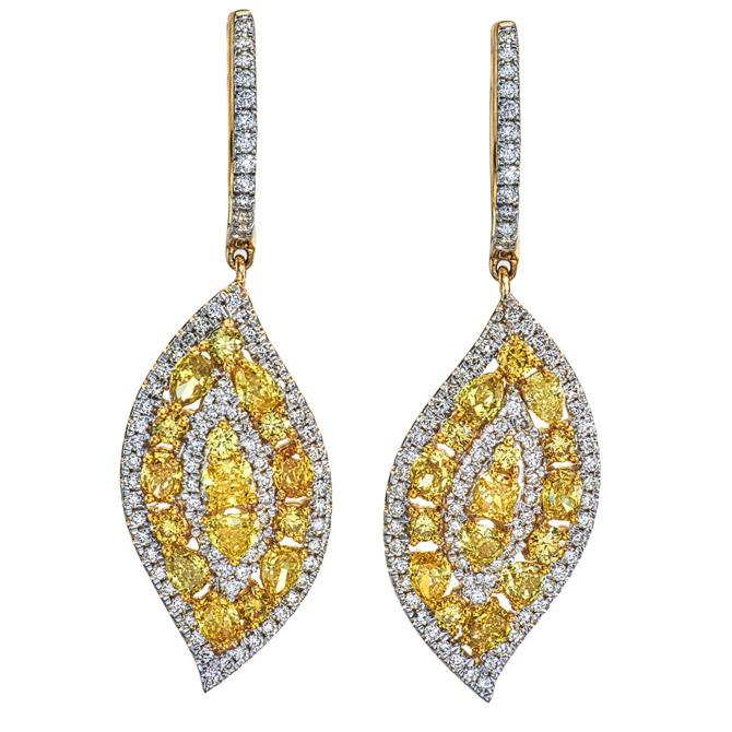 Kallati fancy diamond leaf earrings