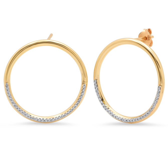 Eriness half diamond loop earrings