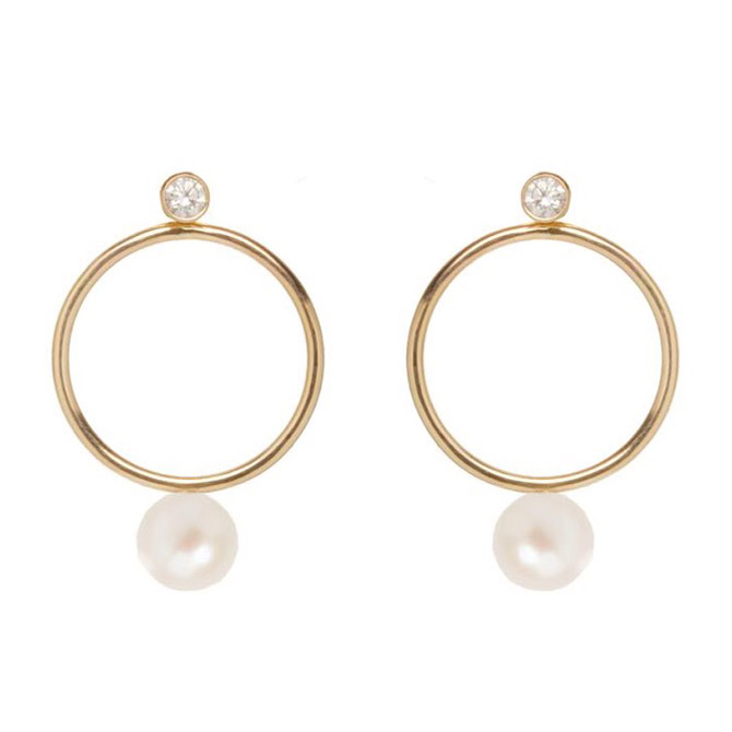 Zoe Chicco pearl and diamond circle earrings