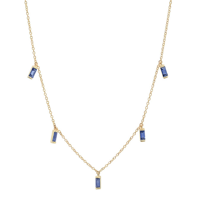 Eriness sapphire baguette necklace