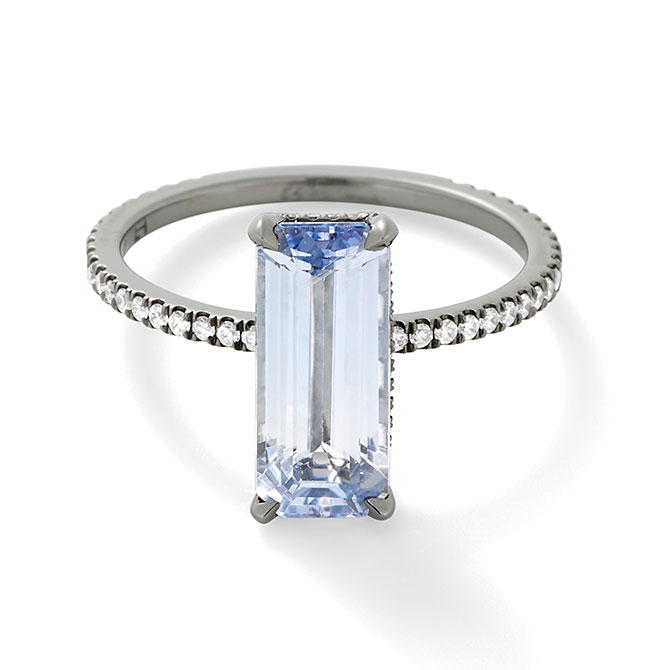 Eva Fehren elongated rectangular sapphire ring