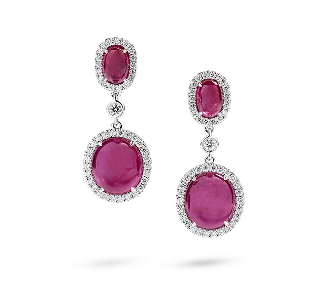 Greenland Ruby oval drop earrings with diamonds