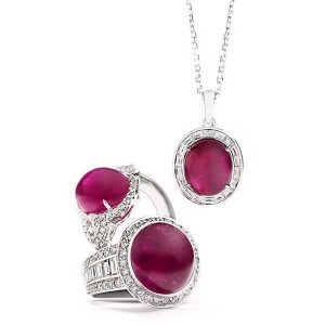 Greenland Ruby rings and necklace