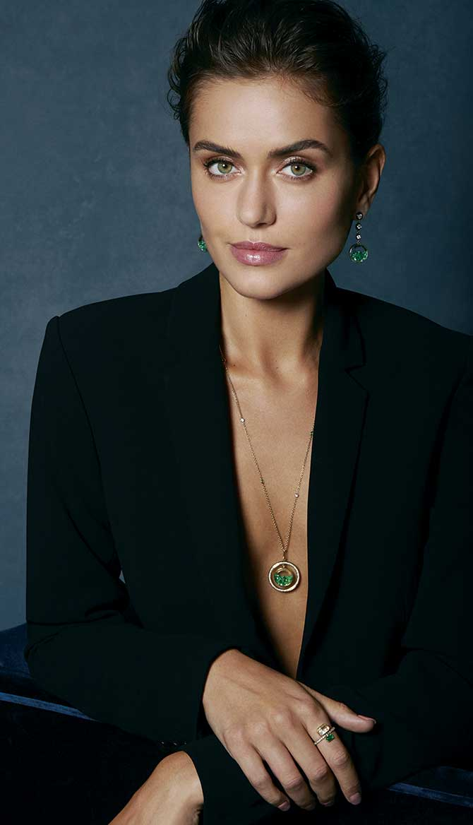 Greenwich St Jewelers campaign green necklace