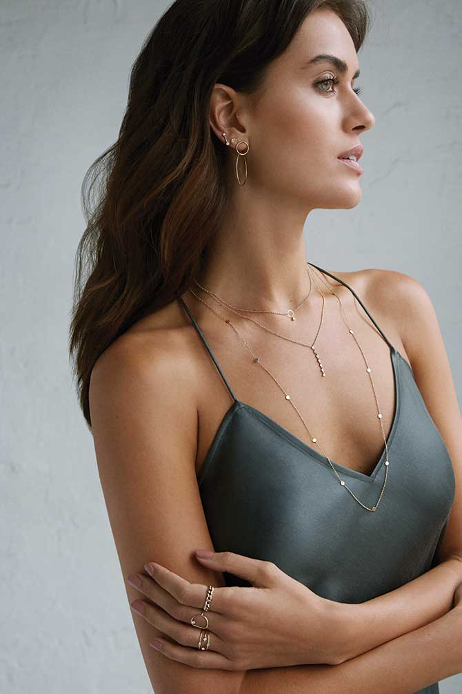 Greenwich St. Jewelers campaign layered necklaces