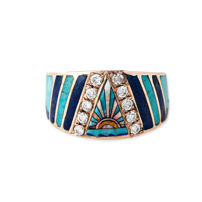 Jacquie Aiche opal inlay cigar band ring
