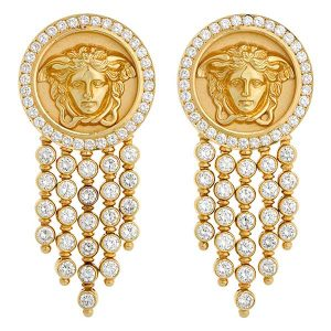 Medusa gold and diamond earrings by Versace