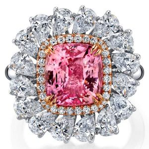 Omi Prive padparadscha and diamond ring
