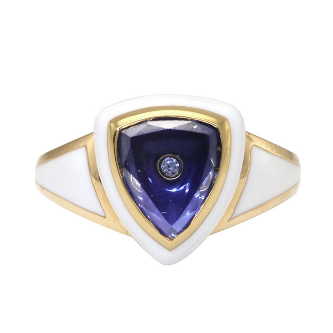 Santo by Zani enamel and sapphire ring