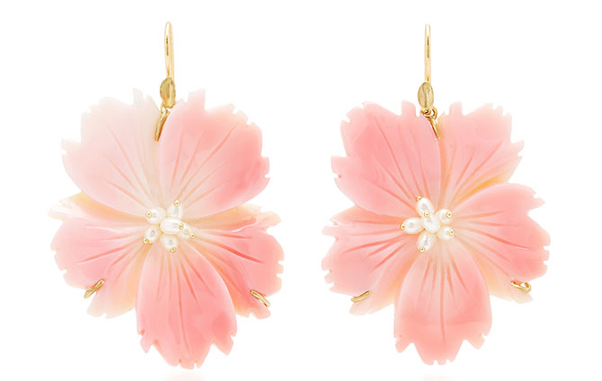 annette ferdinandsen wild rose conch shell earrings