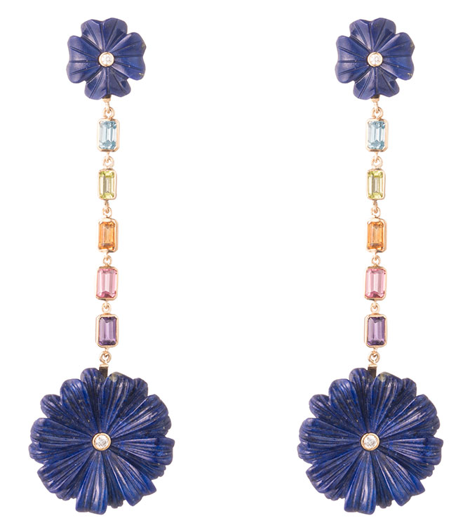 brent neale lapis flower earrings
