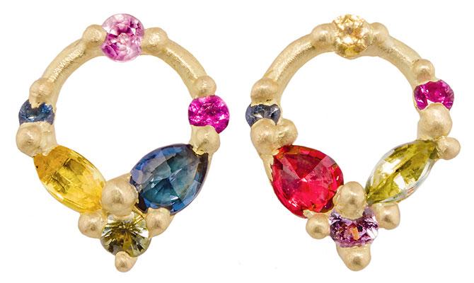 polly wales sapphire wreath earrings