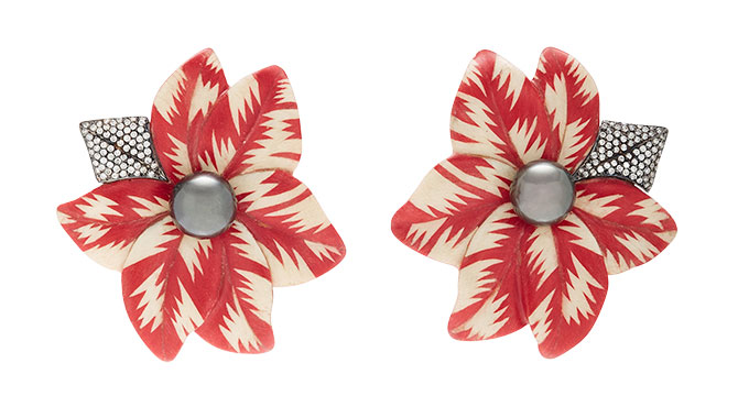 silvia furmanovich marquetry flower earrings