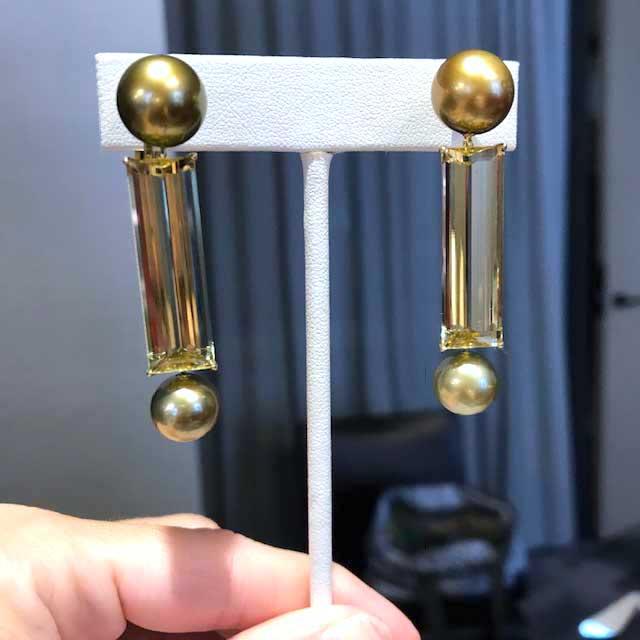 Assael pearl and beryl earrings