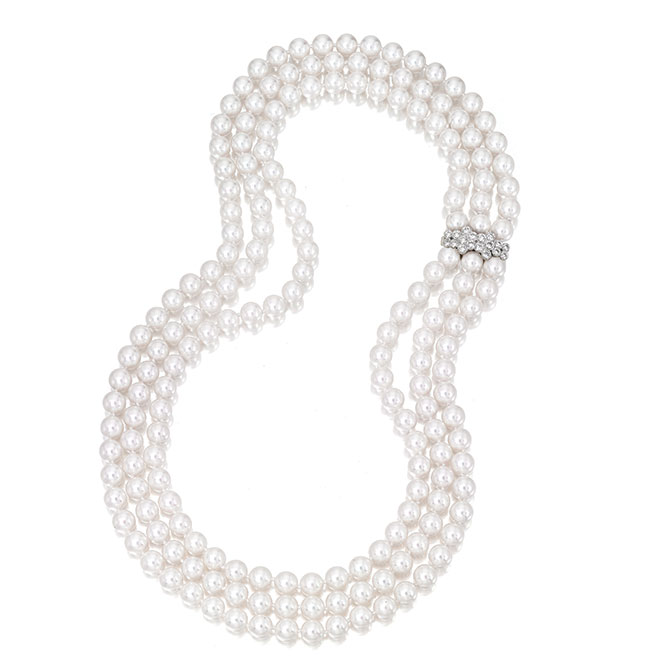 Assael three strand necklace with diamonds