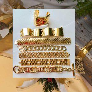 DK Farnum gold bracelet stack