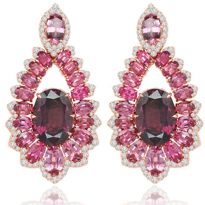 Sutra garnet and spinel earrings