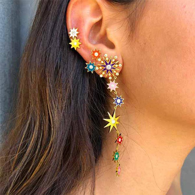 Colette rainbow star duster earrings