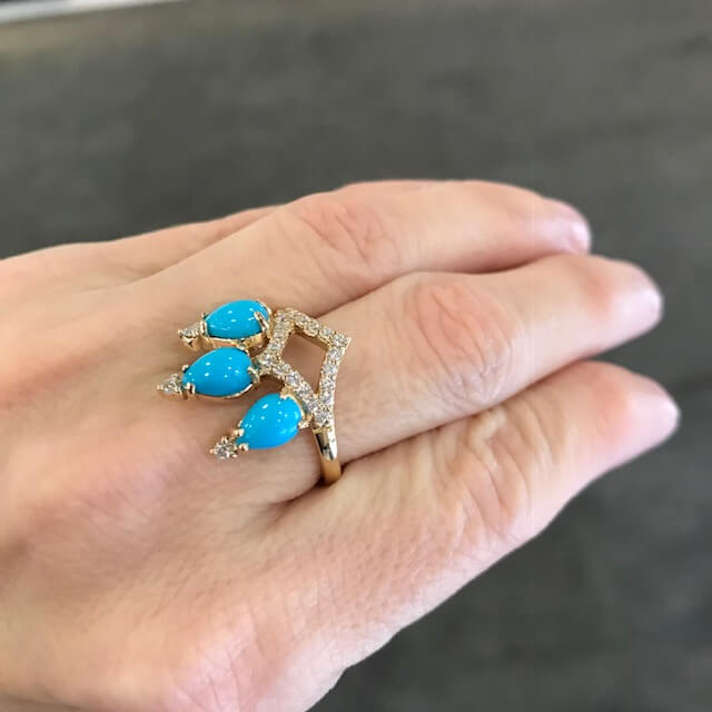 Gigi Ferranti turquoise and diamond ring