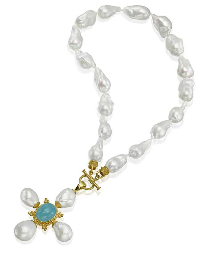 Mazza pearl cross pendant