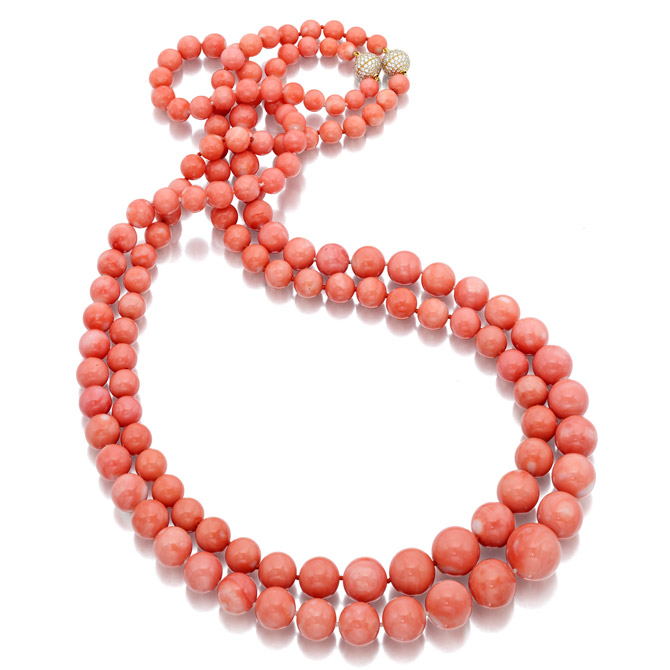 Assael angel skin coral necklace
