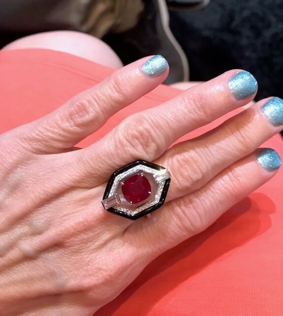 Nikos Koulis ruby and enamel ring