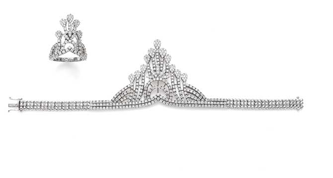 Phillips auction diamond bracelet and ring