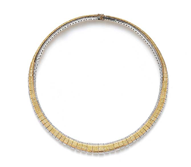 Phillips auction yellow diamond necklace