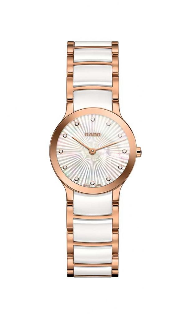 Rado Centrix guilloche mother of pearl dial