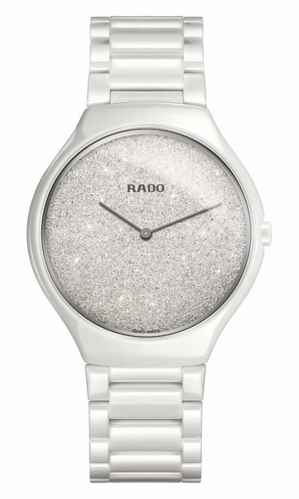 Rado True Thin White glitter dial watch
