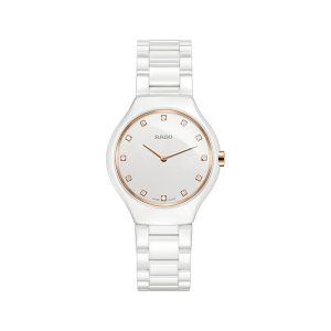 Rado True Thinline watch in rose gold and white ceramic and diamonds