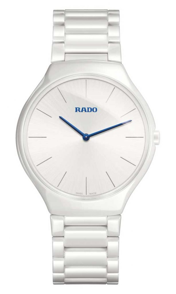 Rado True Thinline watch in white with blue details