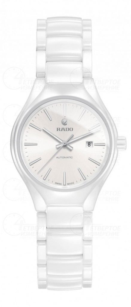 Rado True watch in white ceramic and polished metal